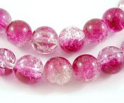 Cerise/transparent crackle 6 mm