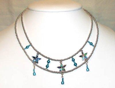 Tvåradigt halsband i silver och turkos emalj - Färdiga halsband ... 69938835d9d17