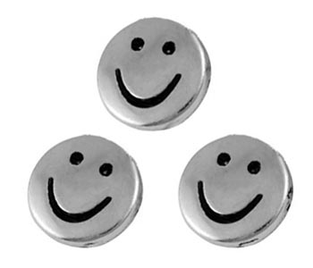 "Metallpärla ""smilie"" 10-pack"