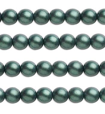 Mörkgrön satinpärla 4 mm 40-pack