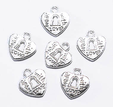 "Hjärta ""Made with love"" ljus silver 8-pack"